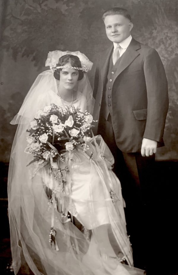 Nan's parents, Maybell Miller and Jesse A.G. Andre, on their wedding day in 1923